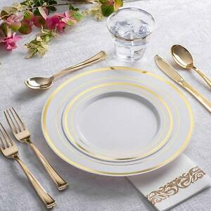 Plastic Plates Disposable Silverware Tableware Set Dinnerware For Wedding Party