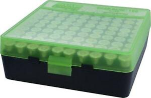 MTM PLASTIC AMMO BOXES (10) GREEN  BLACK 100 Round 9mm  380 - FREE SHIPPING