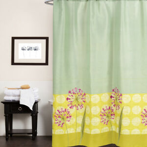 Polyester Fabric Shower Curtain Green Yellow 70