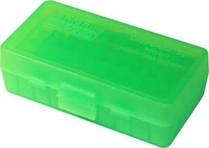 MTM PLASTIC AMMO BOXES (10) CLEAR GREEN 50 Round 9mm  380 - FREE SHIPPING