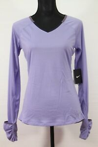 NIKE Women's Dri-Fit Relay Long Sleeve Violet Shirt Size Small NEW WITH TAG