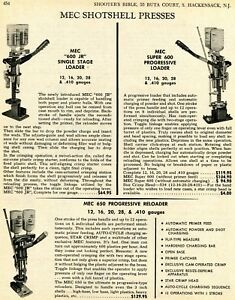 1970 Print Ad of MEC 600 Jr & 650 Progressive Shotshell Press Reloader