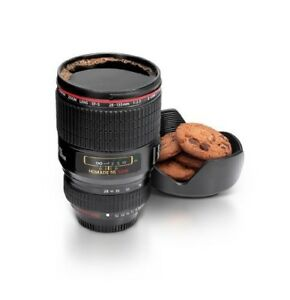 Camera Lens Coffee Mug Realistic Detachable Cover Lid Cookie Holder Travel Cup