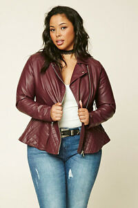 Forever 21 Plus Burgundy Faux Leather Quilted Peplum Moto Jacket XL1X