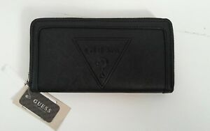 GUESS Womens Black With ? Logo Leather Wallet Clutch
