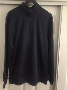 Under Armour Mens Cold Gear Pullover Size XLarge Top  14 Zip Loose Fit Blue
