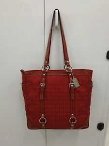 *Coach Red Signature Jacquard Tote Patent Leather TrimCarryall Large Purse EUC!
