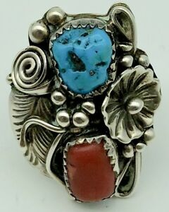 Large Turquoise Ring Sterling Silver Native American Red Coral Handmade Old Pawn