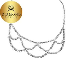 5.96 CT DIAMOND HALF WAY SET FRONT SET NECKLACE ROUND DIAMOND WEB DESIGN 18 K