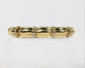 Vintage 18K Gold and 1.3 Carats Diamond Italian Made Ribbon Design Cuff Bracelet