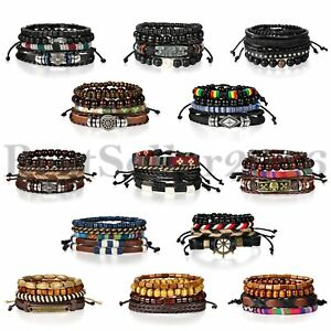 4pcs Leather Braided Wrap Wristband For Men Women Tribal Beaded Bangle Bracelet