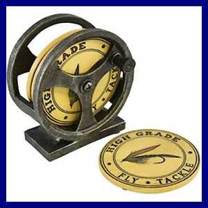Fishing Lure Cool Table Drink Coasters Set Of 4 W Reel Base Holder Unique Funky