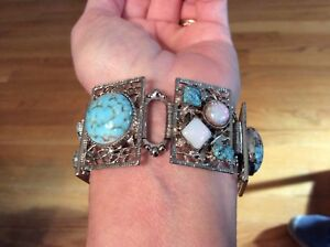 Fab Vntg Unsigned Selro Sellini Bracelet Turquoise Art Glass Moonstone Cats Eye