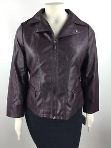 Alfani Faux Leather Motorcycle Lined Jacket  Women's Plus Size 1X NWT RP $119.50