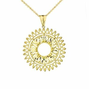 HANDMADE DESIGNER BOHEMIAN STATEMENT PENDANT NECKLACE IN 10K GOLD