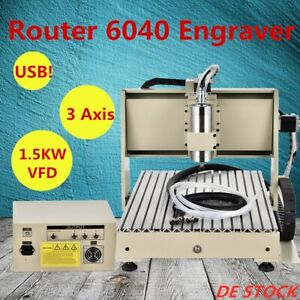 3 Axis USB 6040 1.5KW VFD Spindle Router Engraver Drilling Machine Cutter ER11-A