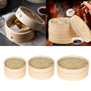 Bamboo Steamer Chinese Kitchen Cookware Fish Rice Dim Sum Basket Cooker
