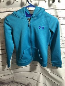 Under Armour Youth Girls Medium Teal Blue Purple Hoodie ZIP UP GUC