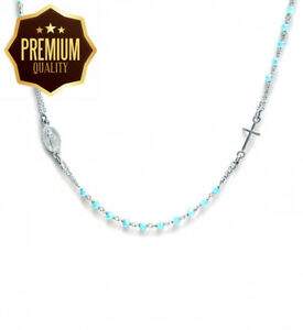 Rosary necklace woman in Sterling Silver and blue stones - Linea Italia...