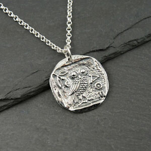 Athena Necklace 925 Sterling Silver womens jewelry greek coin pendant gift