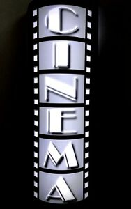 LARGE LED LIGHTED 3D CURVED HOME CINEMA SIGN HOME THEATER FILM REEL WALL SCONCE