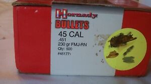 Hornady Bullet Co .45 ACP bullets reloading. 230 gr. FMJ-Round Nose-500 ct.