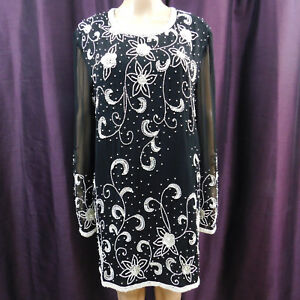 Beaded Dress Black & White Zip Silk Cocktail Special Occasion Sheer Sleeve XL