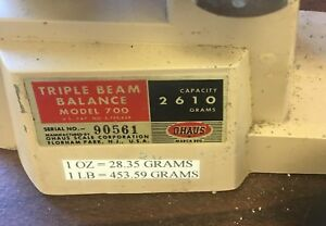 Working Ohaus Series 700 Triple Beam Scales 2610 Grams Vintage Scale W Weights