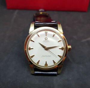 1958 OMEGA SEAMASTER HONEYCOMB CREAM DIAL 18K GOLD CAP CAL:501 AUTO MAN'S WATCH