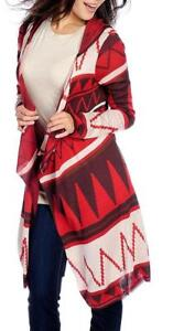 NEW One World Patterned Fine Gauge Knit Cascade Front Hooded Cardigan 1X $19.99
