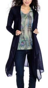 NEW One World Patterned Fine Gauge Knit Cascade Front Hooded Cardigan XS $19.99