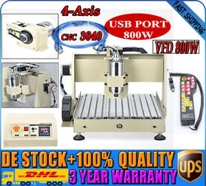 4-Axis CNC3040 Router Wood Engraver Cutter Machine Spindle motor VFD 800W AC220V