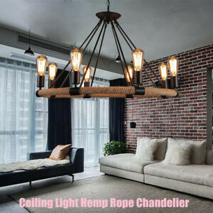 Retro Candle Ceiling Light Rope Iron Round Chandelier Industrial Pendant Rustic