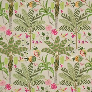 COWTAN & TOUT TROPICAL PALM TREES BIRDS EMBROIDERED LINEN FABRIC 10 YARDS PINK