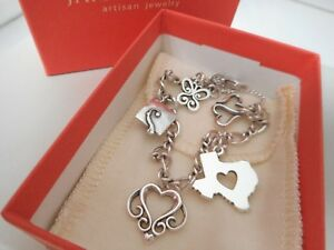James Avery Sterling Silver Charm Bracelet & 5 James Avery Charms - Box & Pouch