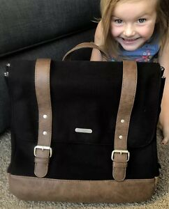 Little Unicorn Marindale Baby Diaper Bag Backpack Black Canvas Leather Straps