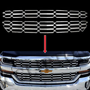New Chrome Grille Overlay Snap On Insert Fits For 2016-2018 Chevy Silverado 1500