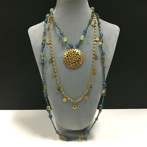 New! CHICO'S Long Multi Strand Yellow & Blue Crystal Bead Pendant Necklace MM38k
