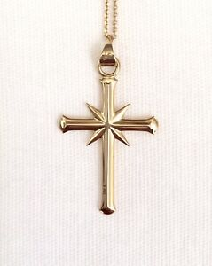 New Solid 14k Gold 14 Karat Scientology Cross Pendant & Necklace Jewelry wCase