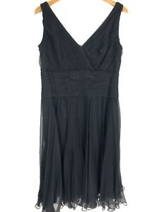 Tadashi Collection Dress Size 16 Black Silk Formal Cocktail Wedding Sleeveless