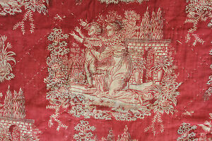 Toile Antique French Bolbec textile 18th century red block printed linen c1800
