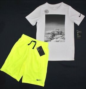 NWT~BOY'S NIKE T-SHIRT & SHORTS YOUTH SMALL  8..DRY FIT COTTON TEE..GREYYELLOW~