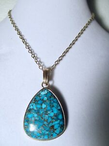 Barse Turquoise Necklace Pendant Bronze