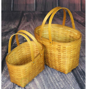 Vintiquewise 13 in. W x 10.3 in. D x 10 in. H Wood Chip Oval Shopping Baskets