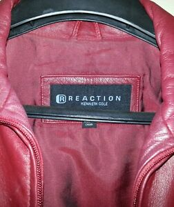 Kenneth Cole Ladies Large Red Leather Jacket. Double Zippered Front. Sharp Style
