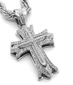 Mens Large Thick Cross Silver Plated Pendant 30