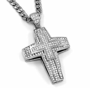 Men Small Plus Cross Silver Plated Iced Out Pendant 30