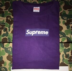 100% authentic Supreme Purple 🍇Box Logo T shirt Size Large OG black Paris Japan