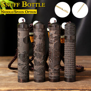 1Pcs Snuff Bottle Neddle Spoon Bullet Ebony Case Containe Portable Toothpick