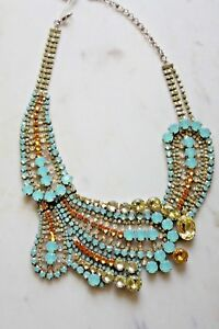 Sorrelli Statement Bib Necklace Aqua Yellow Clear with tags silver tone back
